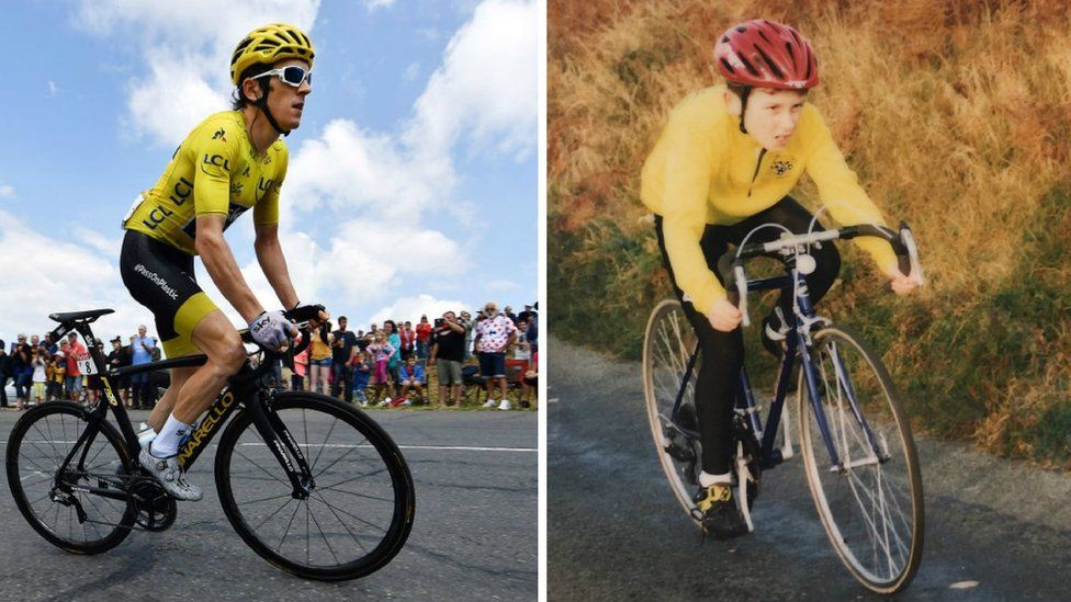 Geraint Thomas now and as a child