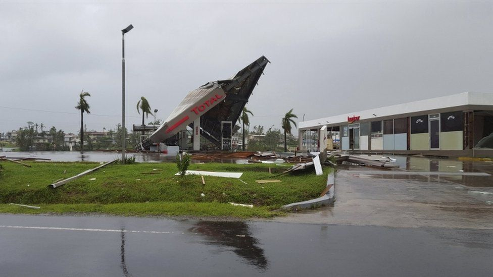 A service station lays in ruin after Cyclone Winston swept through the town of Ba on Fiji's Viti Levu Island