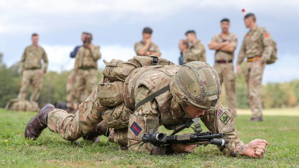 Soldiers at the Royal Army Physical Training Corps School in Aldershot.
