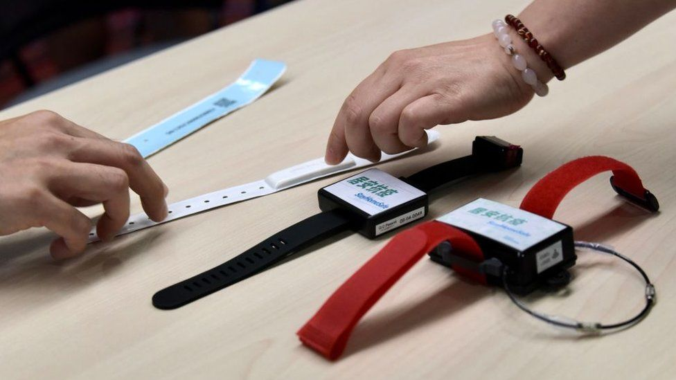 Monitoring wristbands for people under quarantine amid coronavirus outbreak on March, 2020 in Hong Kong.