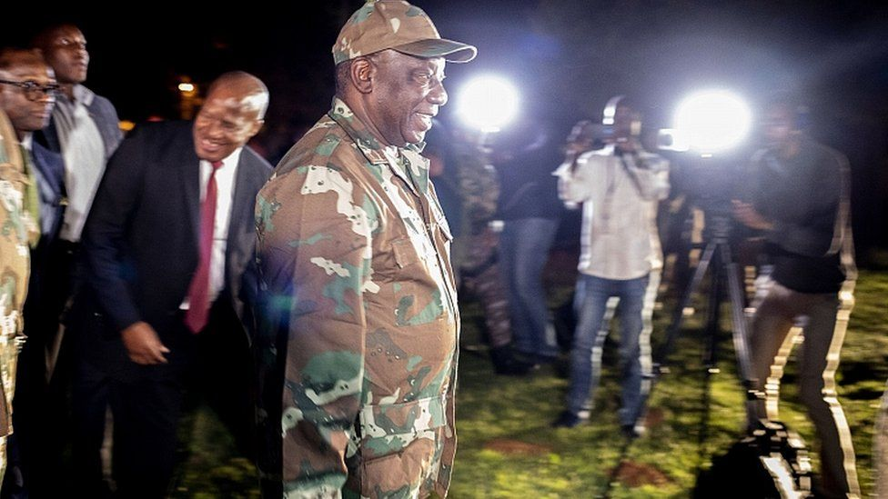 South African President Cyril Ramaphosa arrives at Diepkloof Army Base to address soldiers prior to their deployment in Johannesburg, 26 March 2020