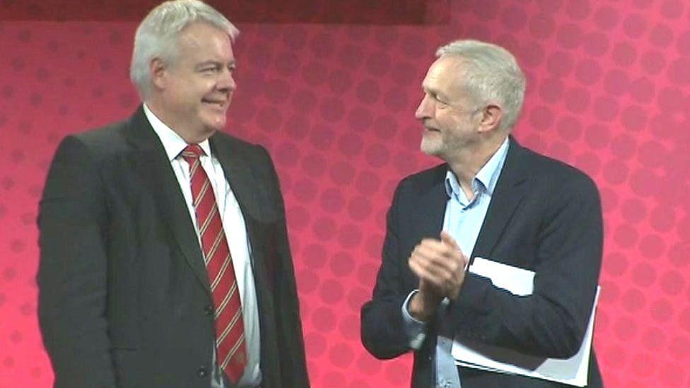 Carwyn Jones and Jeremy Corbyn after Mr Corbyn's speech