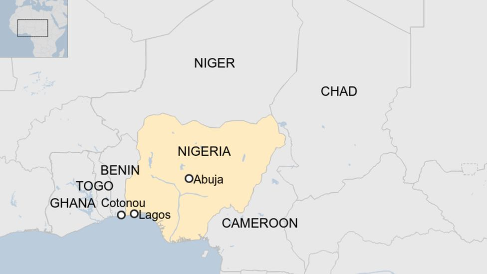 Map of countries surrounding Nigeria