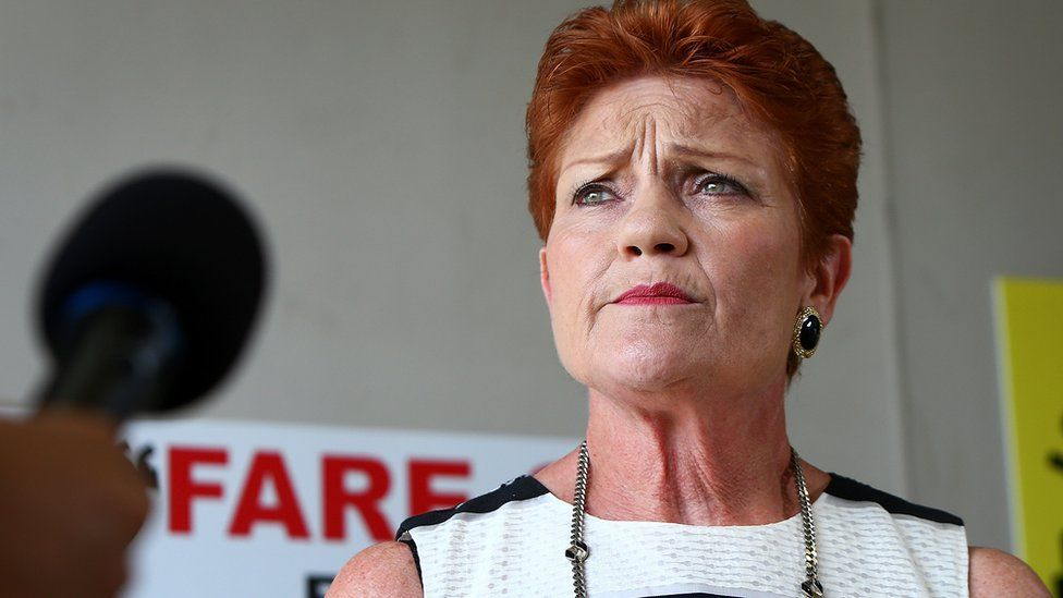 Far-right One Nation Party leader Pauline Hanson