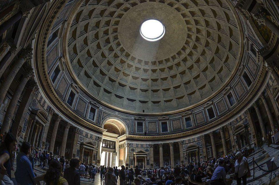 Sunlight illuminates the dome of the Pantheon in Rome