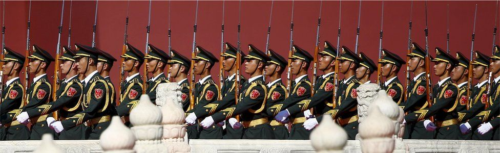 Soldiers of China's People's Liberation Army (PLA) march at the beginning of the military parade marking the 70th anniversary of the end of World War Two, in Beijing, China, 3 September 2015