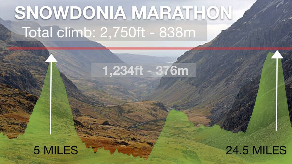 Graphic: Snowdonia Marathon climbs 2,750ft along its route - that's 838m