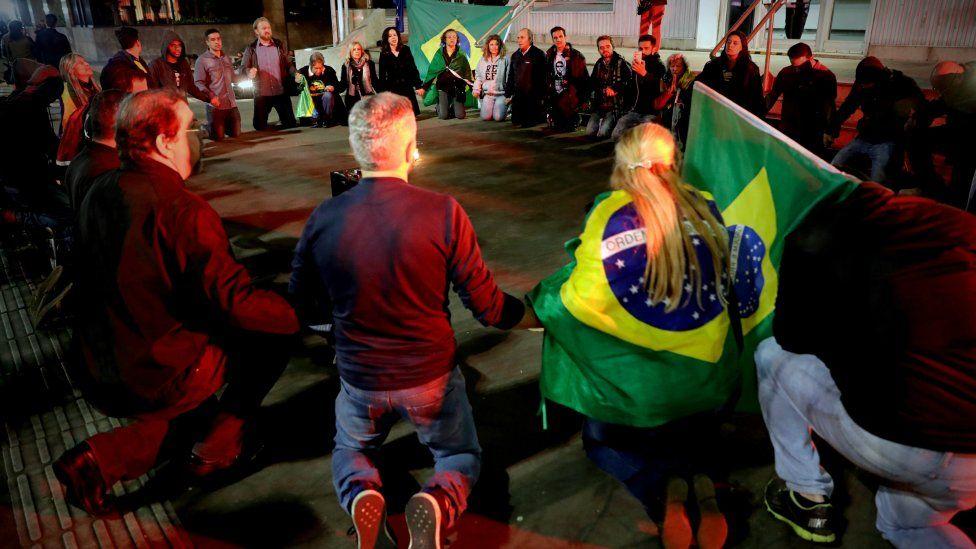 Supporters of Brazilian presidential candidate Jair Bolsonaro hold a vigil on Avenida Paulista in Sao Paulo, Brazil, 06 September 2018.
