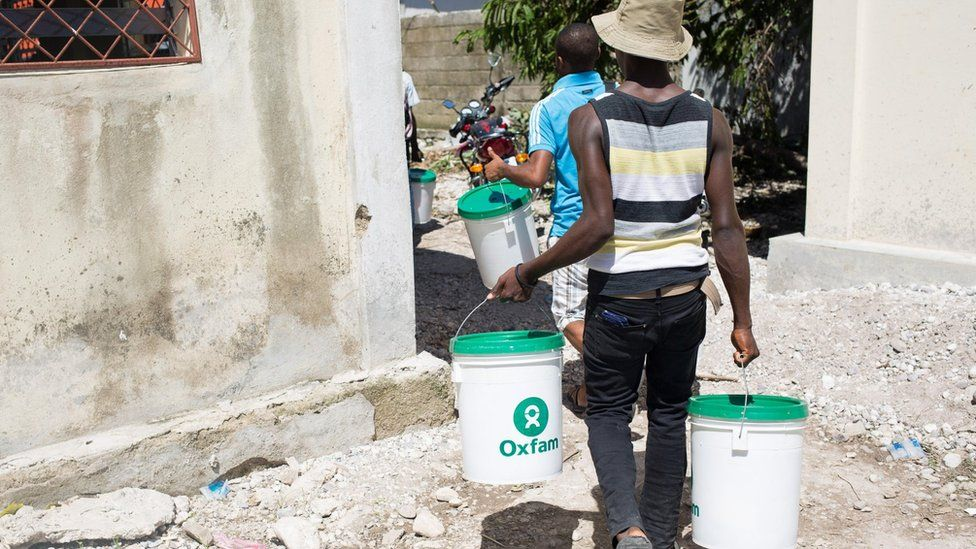 Oxfam workers in Haiti in 2016