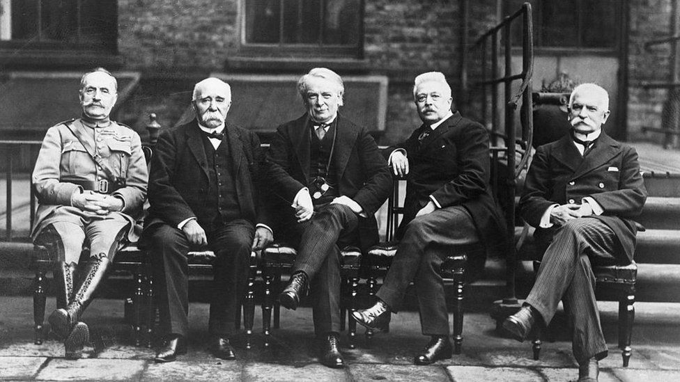 David Lloyd George pictured with fellow allied leaders