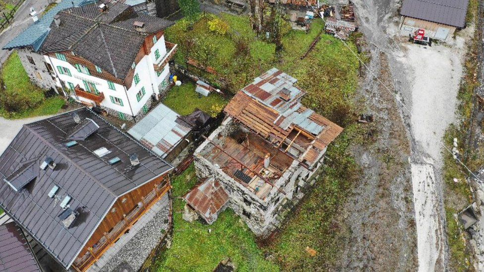 A damaged building caused by severe bad weather in the recent days in the Pettorina Valley, Veneto Region, northern Italy