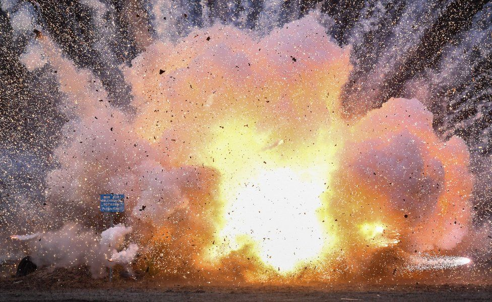 A large explosion