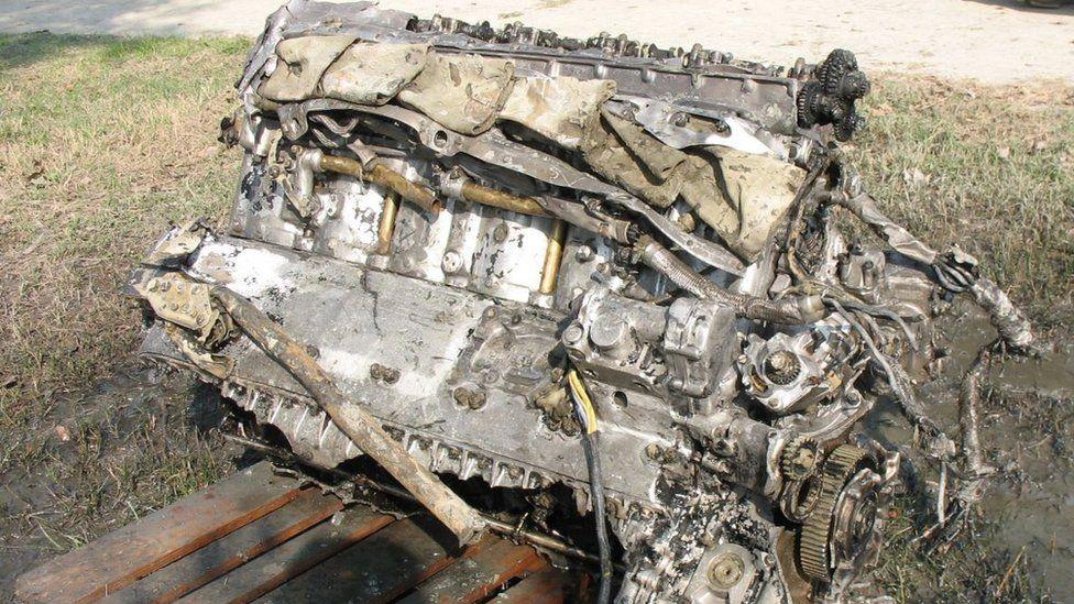 The Spitfire engine wreckage
