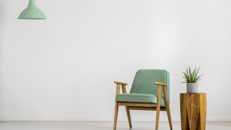 A chair and a light