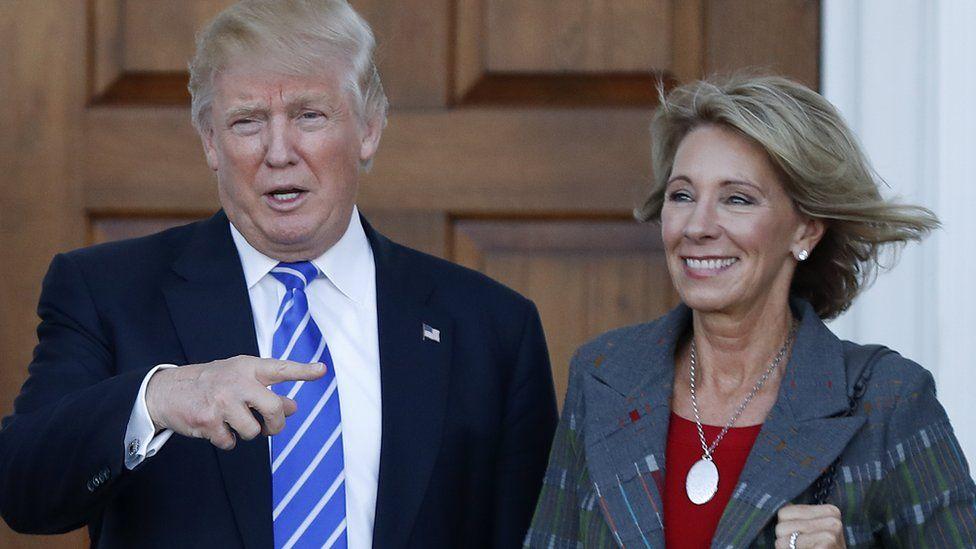 Donald Trump with Betsy DeVos at Trump International Golf Club, November 19, 2016
