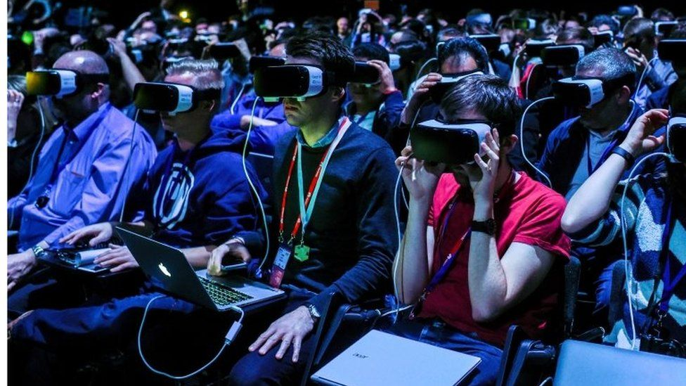 Samsung event attendees wearing Gear VR headsets