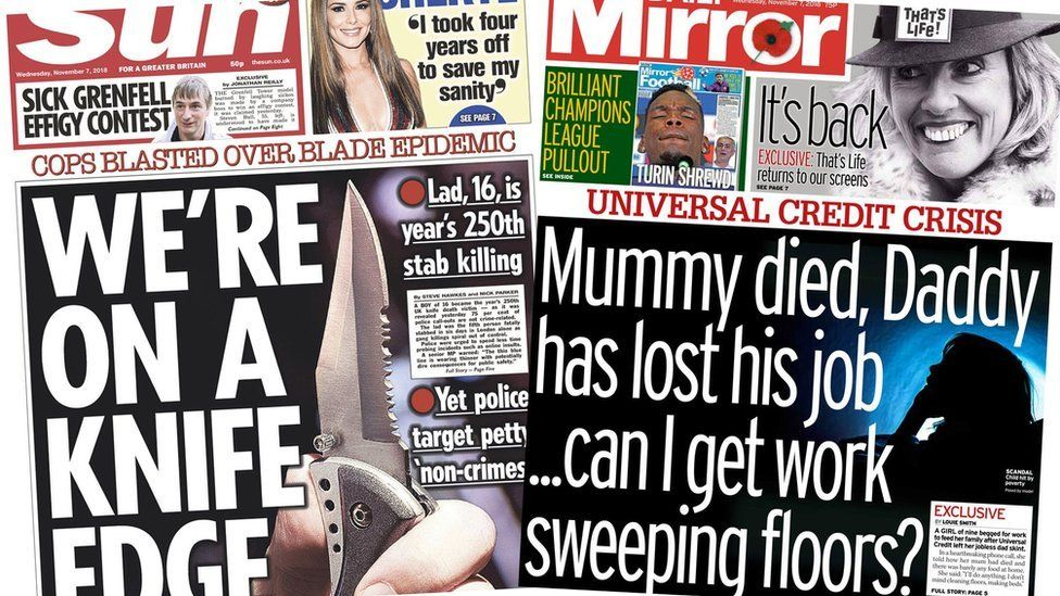 The Sun and the Mirror front pages