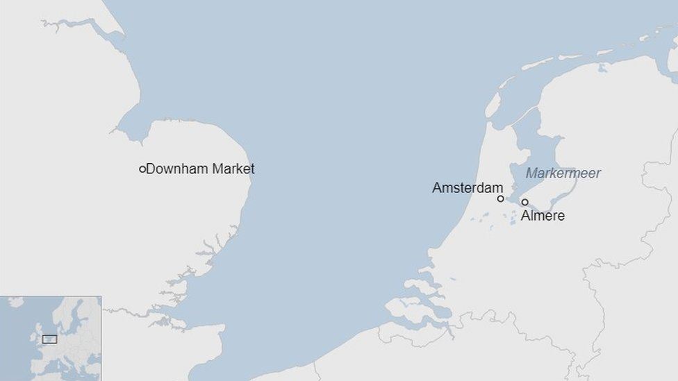 Map showing the Markermeer, Amsterdam and Downham Market
