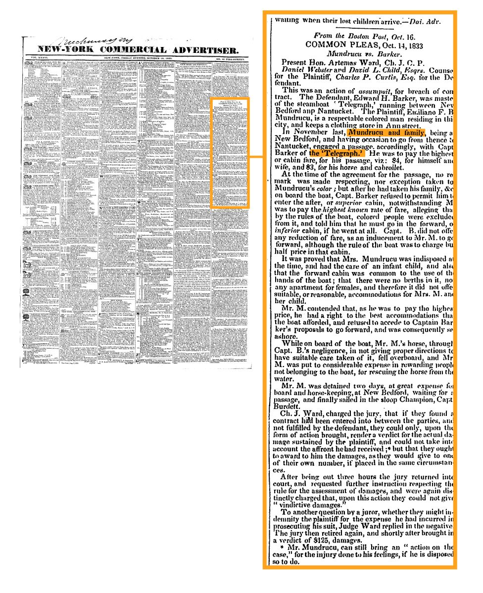 1833 New York newspaper report announces Mundrucu's victory in the first court case