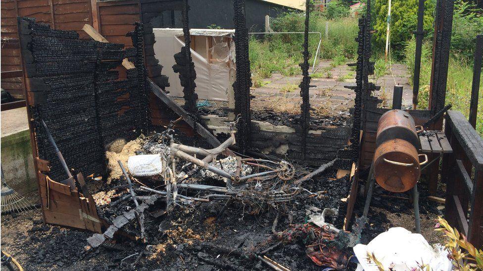 Burnt shed