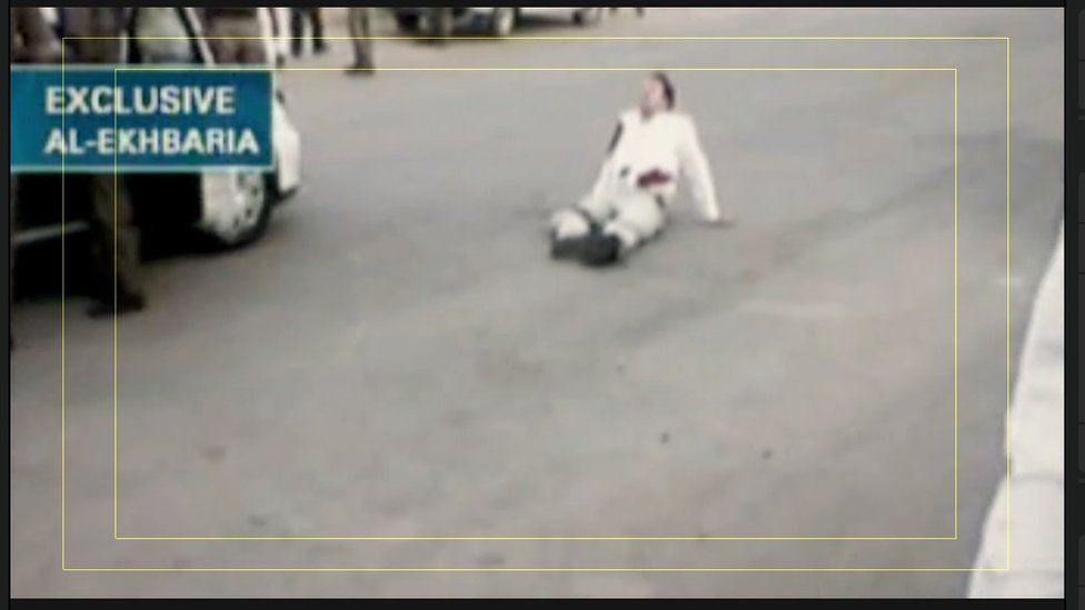 Frank Gardner lying on the road shortly after being attacked by a gunman