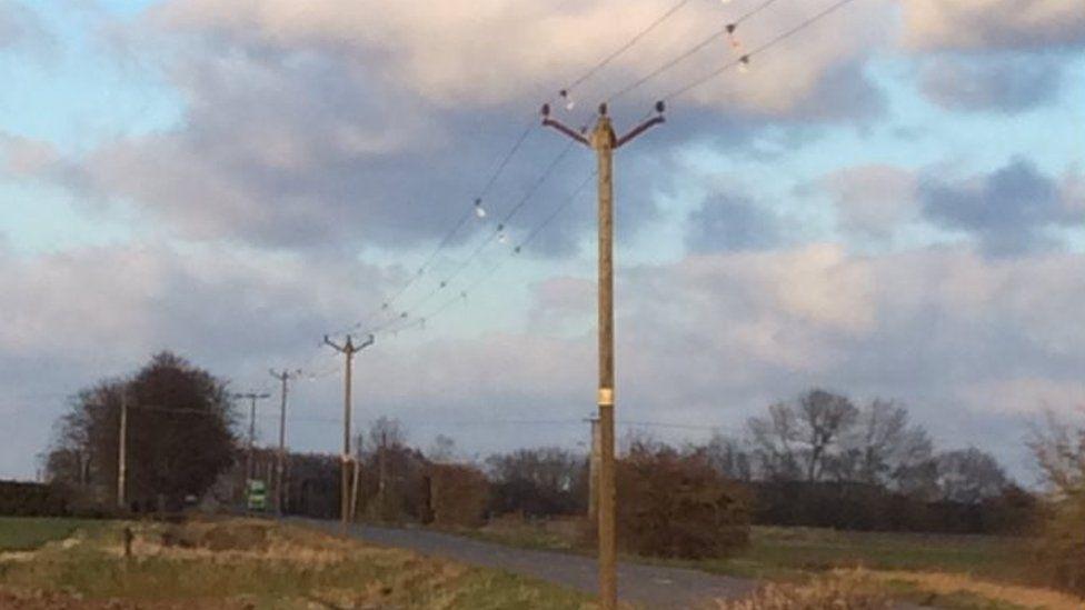 Power lines at Baston