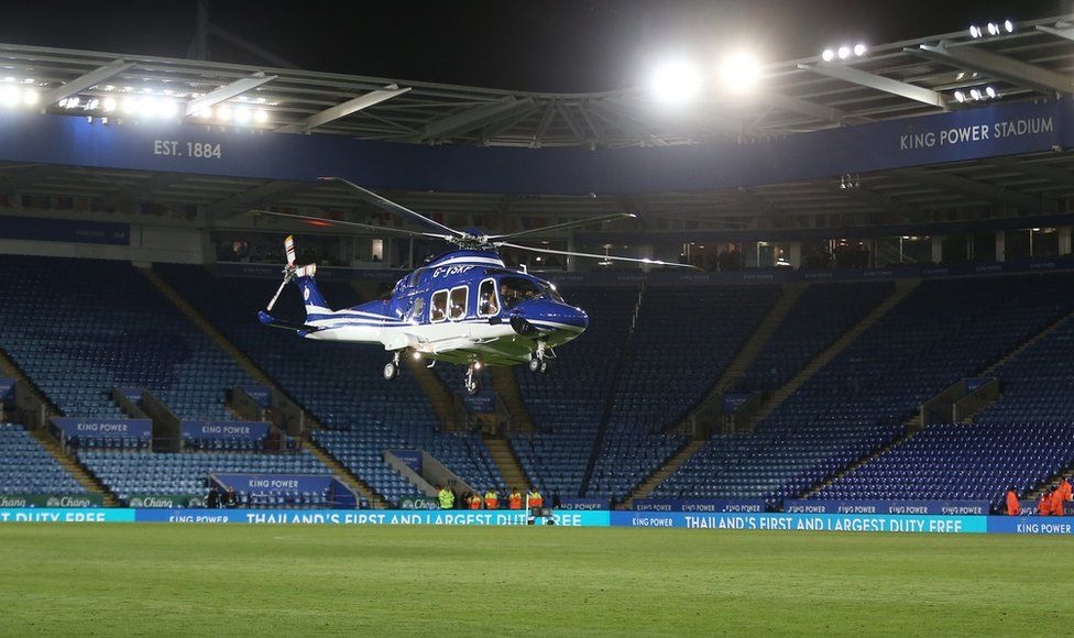 The helicopter of Leicester City owner Vichai Srivaddhanaprabha lands on the pitch at the end of the game before making it's final fateful journey after the Premier League match between Leicester City and West Ham United at The King Power Stadium on October 27, 2018 in Leicester, United Kingdom