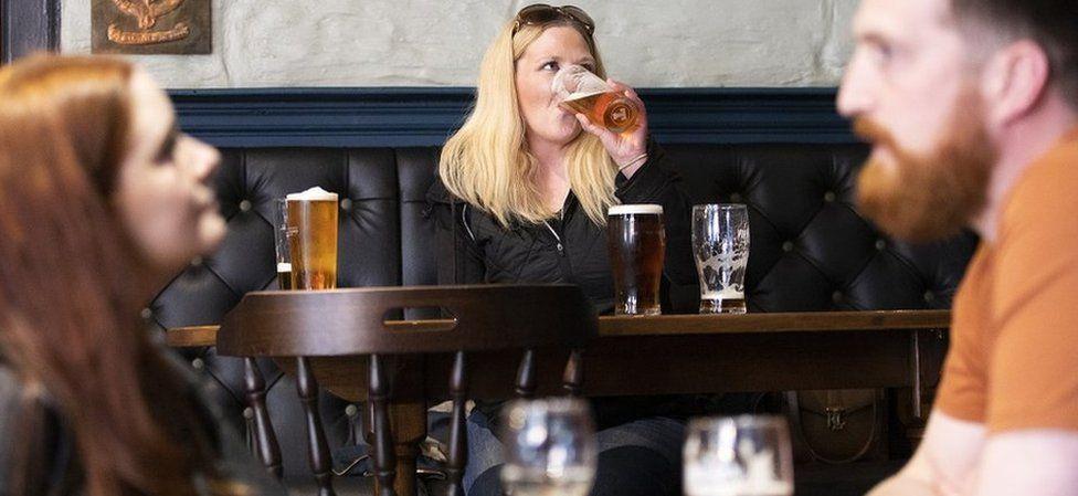 Drinking at a pub in Edinburgh