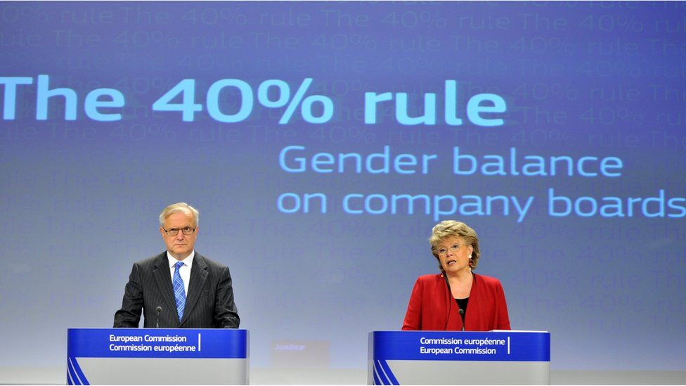 European commission meeting with backdrop reading the 40% rule gender balance on company boards