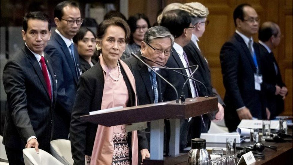 Myanmar State Counselor Aung San Suu Kyi (C) appears before the International Court of Justice (ICJ) at the Peace Palace in The Hague, Netherlands, 10 December 2019.