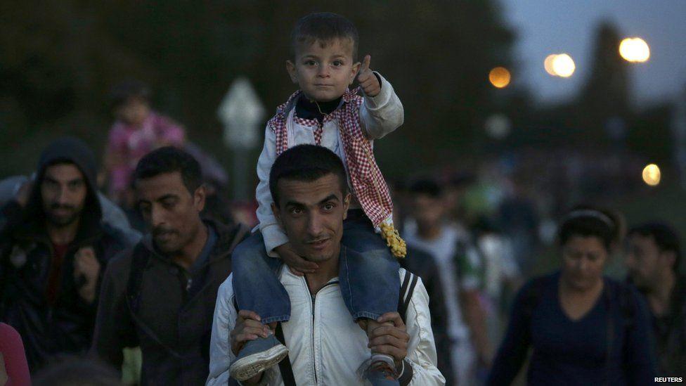 Migrants at the Hungary-Austria border