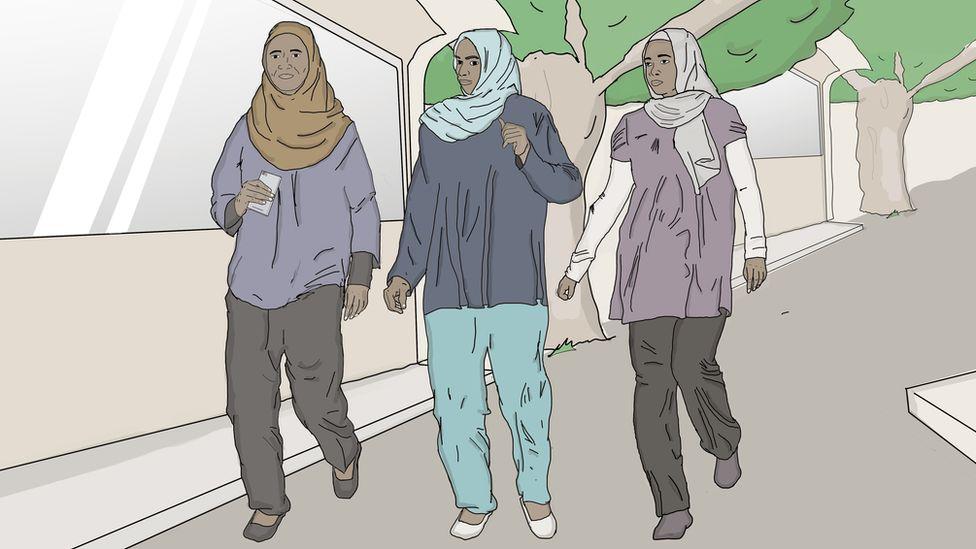 sketch of women wearing trousers