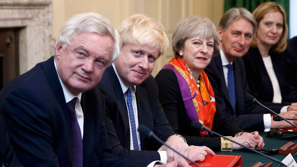 David Davies Secretary of State for Exiting the European Union, Foreign Secretary Boris Johnson, British Prime Minister Theresa May, Chancellor of the Exchequer Philip Hammond and Home Secretary Amber Rudd in November 2016