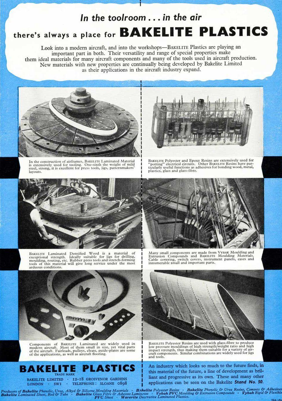 An advert for Bakelite plastics in an aircraft industry trade magazine circa 1955