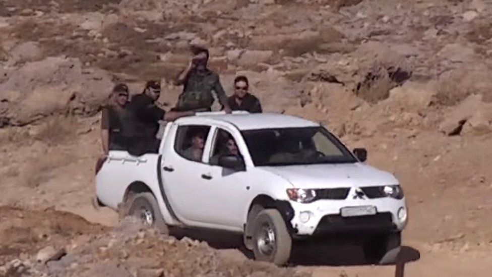 Syrian forces in pickup moments before ambush