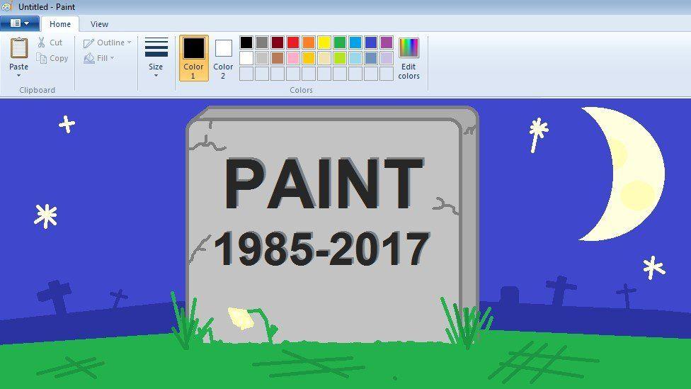Paint gravestone drawn in Paint