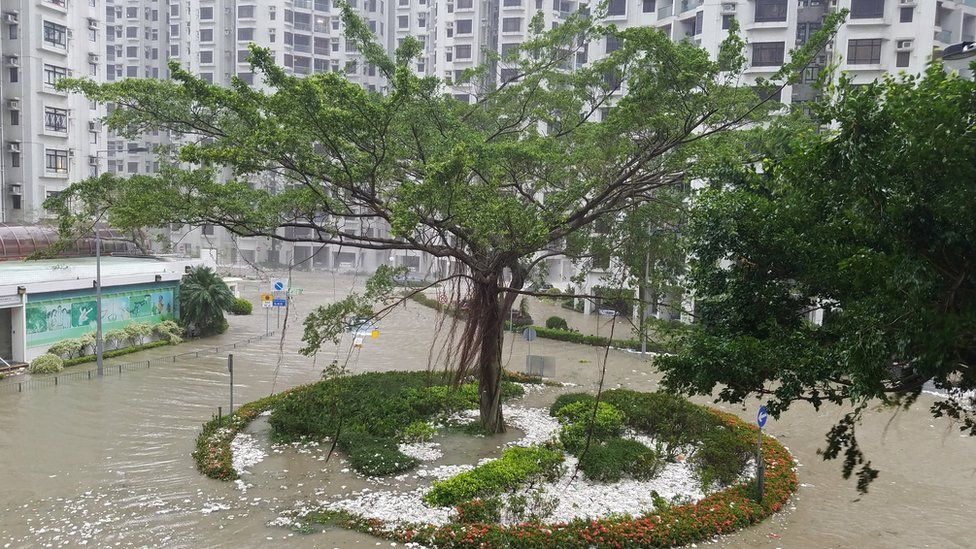 Water brought by high waves washed ashore in Heng Fa Chuen in Hong Kong on 16 September 2018.