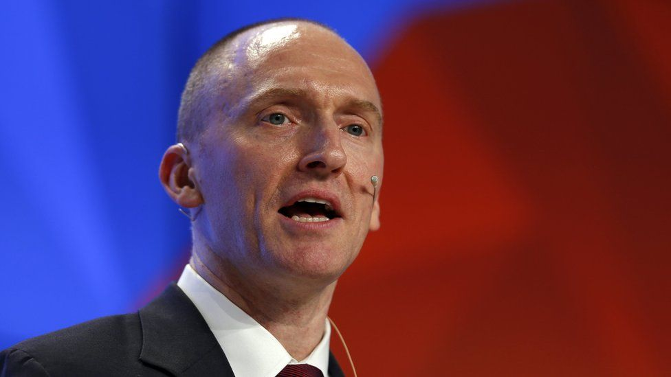 "Carter Page delivers a speech on the topic ""Departing from hypocrisy: potential strategy during an era of global economic stagnation, threats to security and counterfeit news"" in Moscow, Russia, 12 December 2016"