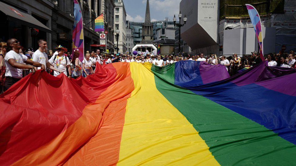 Pride march rainbow flag