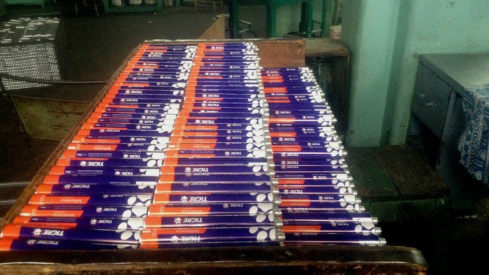 A picture of toothpaste tubes produced at the factory