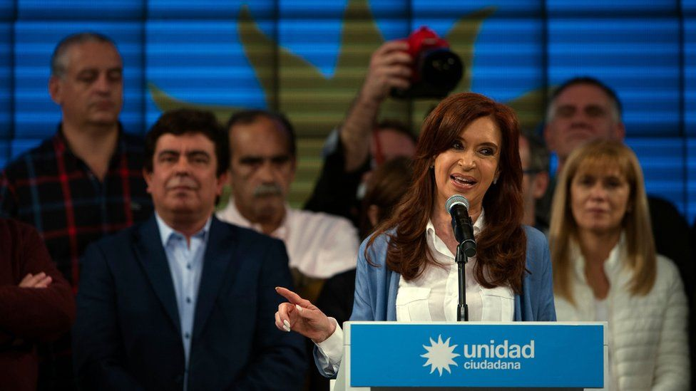 Argentina's former President Cristina Fernandez de Kirchner gives a speech near Buenos Aires