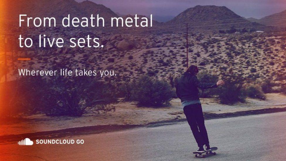 Soundcloud advertisement showing a man on a skateboard