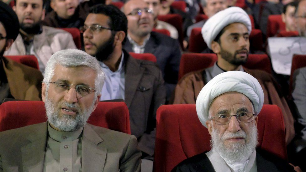Ayatollah Ahmad Jannati (R) attends an election campaign meeting in Tehran, Iran (24 February 2016)
