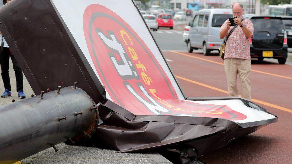 A restaurant signboard collapsed in Urasoe, southern island of Okinawa, Japan, 30 September 2018