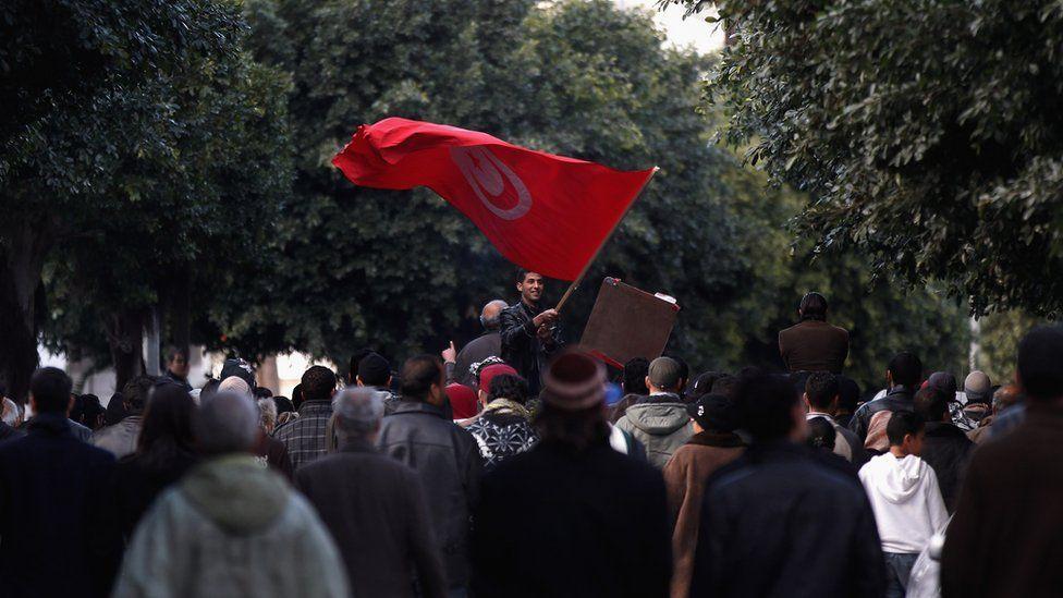 Protesters in Tunisia in January 2011
