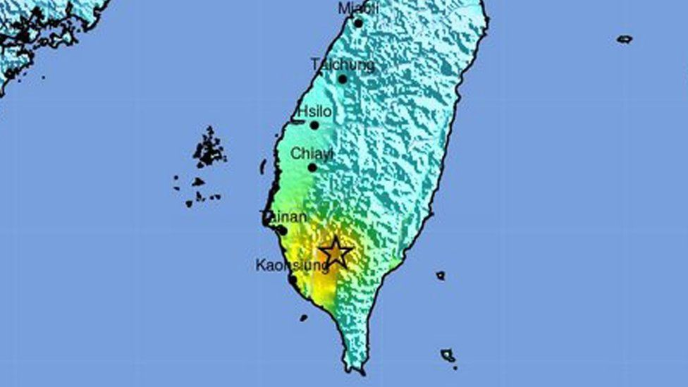 A map showing the location of an earthquake in southern Taiwan