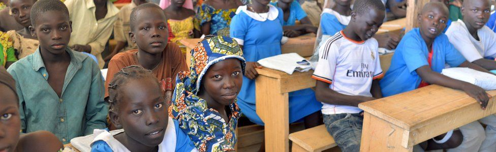 Students at a school in a camp for Nigerian refugees in Cameroon - 2014