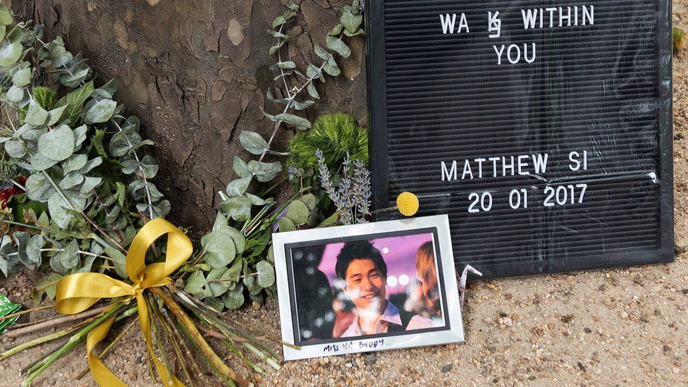 A tribute to Melbourne car attack victim Matthew Si in the city centre
