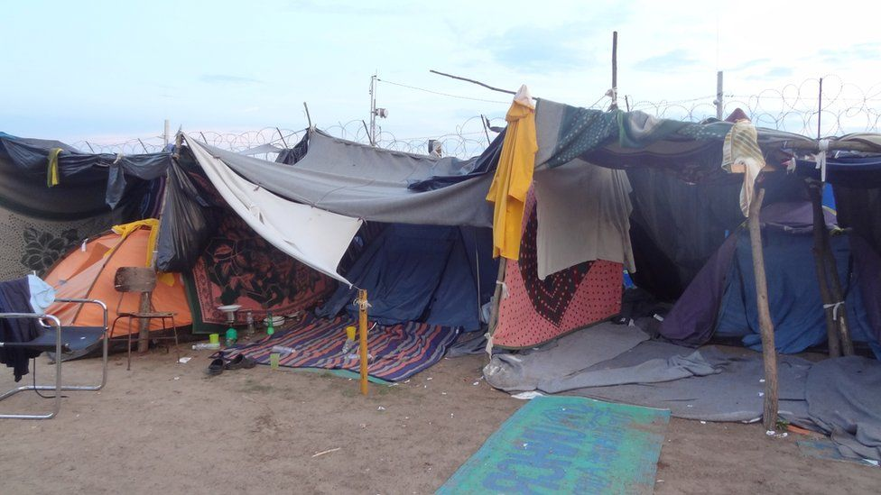 The makeshift refugee camp at Kelebia, Serbia, 12 September 2016