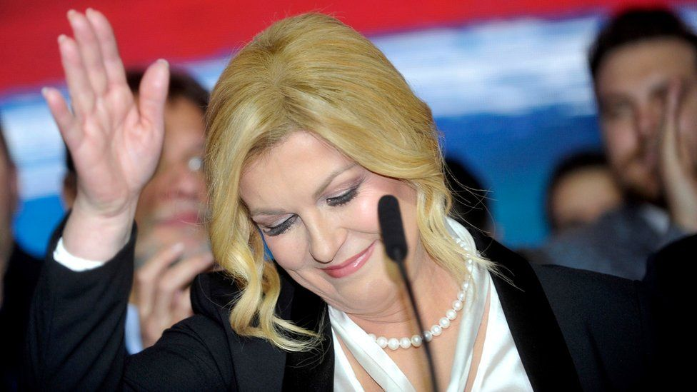 Croatia's outgoing president Kolinda Grabar-Kitarovic delivers a speech in Zagreb, 5 January 2020